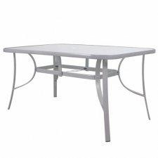 Záhradný stôl 150cm: kov + sklo - sivý