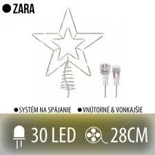 ZARA spojovateľná LED vianočná hviezda vonkajšia - 30LED - 28CM Teplá biela